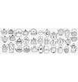 teapots and kettles hand drawn doodle set vector image