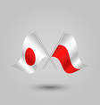 two crossed japanese and polish flags vector image vector image