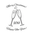 two glasses of champagne 2019 merry christmas and vector image vector image