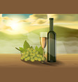 wine glass on wooden table on the morning vector image