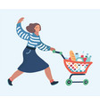 woman with shopping cart in flat smiling woman in vector image vector image