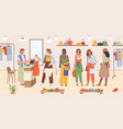 women buyers stand in line at cash desk shopping vector image vector image