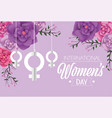 women sign hanging with roses to womens day vector image vector image
