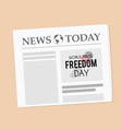 world press freedom day newspaper banner vector image vector image