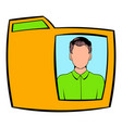 yellow folder with male photo icon cartoon vector image vector image