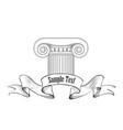 classic architectural label roman ionic column vector image