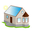 solar panel on roof new 3d private house with bay vector image