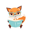 cute clever fox character sitting and reading a vector image