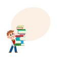 school boy holding huge stack pile of books vector image