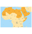 arab world states political map with orange vector image vector image