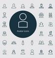 avatar outline thin flat digital icon set vector image