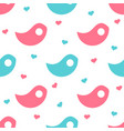 blue and pink bird-shaped objects with hearts in vector image vector image