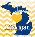Blue and Yellow Chevron Michigan card vector image vector image