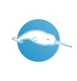 Blue flat logo narwhal for company and business vector image vector image