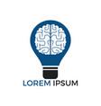 bulb and brain logo design vector image vector image