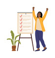 business woman checklist success girl office vector image vector image
