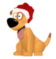 cartoon yellow dog in the santa claus hat vector image vector image
