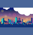 chinese new year - city landscape with colorful vector image vector image