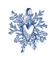 christmas hand drawn toy heart and fur tree for vector image vector image