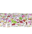 Cityscape sketch seamless pattern for your design vector image