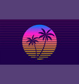 classic retro 80s style tropical sunset with palm vector image