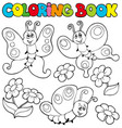 coloring book with butterflies 1 vector image vector image