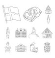 country denmark outline icons in set collection vector image