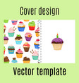 cover design with cupcakes pattern vector image vector image