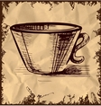 Cup icon isolated on vintage background vector image vector image