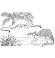 dinosaurs on a white vector image vector image