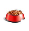 dog bowl wet food composition vector image
