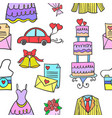 doodle of element wedding party vector image