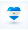 Flag of Nicaragua in shape diamond glass heart vector image