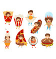 flat set of kids in food costumes cute vector image