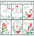 floral card set with watercolor red flowers vector image vector image
