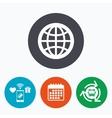 Globe sign icon World symbol vector image vector image