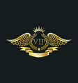 golden vip emblem with laurel wreath and eagle vector image vector image