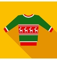 Green Christmas Sweater in Flat Style with Long vector image vector image