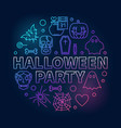 halloween party outline round colored vector image
