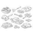 hand drawn butter sketch breakfast culinary vector image