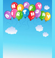 happy birthday balloons on blue sky vector image vector image