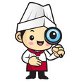 happy cook character look through a magnifier vector image