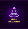 happy halloween witch neon label vector image vector image