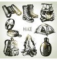 Hike and camping tourism hand drawn set vector image