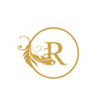 initial r letter luxury beauty flourishes