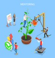 isometric flat concept mentoring guide vector image
