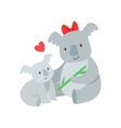 Koala Mom With Red Bow Animal Parent And Its Baby vector image vector image