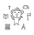 koala the civil engineer with the axe and a saw vector image vector image