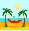 man at beach hammock concept background flat vector image