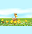 nature scene background with ducklings in the vector image